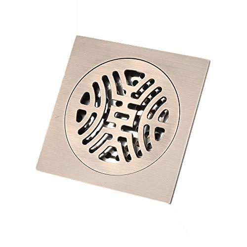 DYR Quadratischer runder Bodenablauf aus grüner Bronze, geruchsneutraler Bodenablauf, insektensicherer Bodenschutzablauf mit großem Durchfluss gegen Rückstau, 0252
