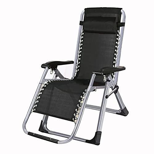 FCFLXJ Tumbona, Silla Plegable reclinable, tumbonas de jardín Ajustables, para Playa, Piscina, Patio al Aire Libre, pies para Acampar, Acero c316 con Almohada