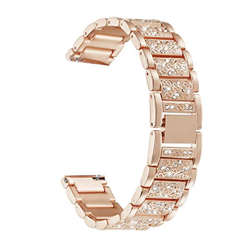 Abanen Compatible with Fossil Q Venture Watch Band,18mm Lightweight Alloy Metal Bling Crystal Quick Release Wristband Strap for Fossil Q Venture Gen4/3,Fossil Women's Sport (Rose Gold)