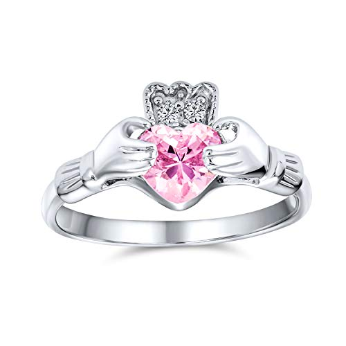BFF Celtic Irish Friendship Promise AAA CZ Simulated Rose Pink Tourmaline Hands & Heart Claddagh Ring For Women Teens 925 Sterling Silver