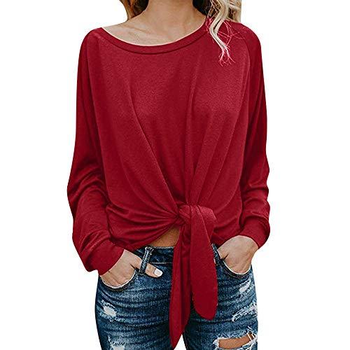 Vrouwen meisjes lange mouwen knopen Tie trui sweatshirt t-shirt blouse tops jurk kleding lange mouwen ronde hals sweatshirt oversized bovenstuk tuniek tops fRAUIT losse shirts