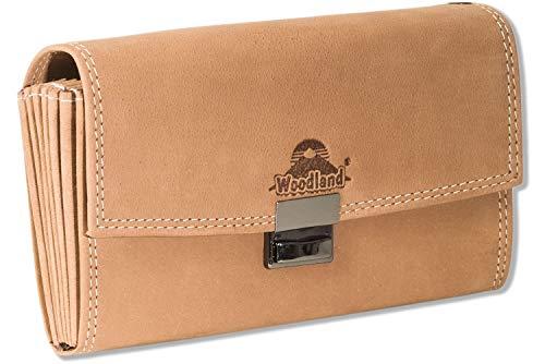 Woodland® Profi Kellnerbörse mit extra verstärktem Boden im großem Hartgeldfach aus weichem, naturbelassenem Büffelleder in Cognac