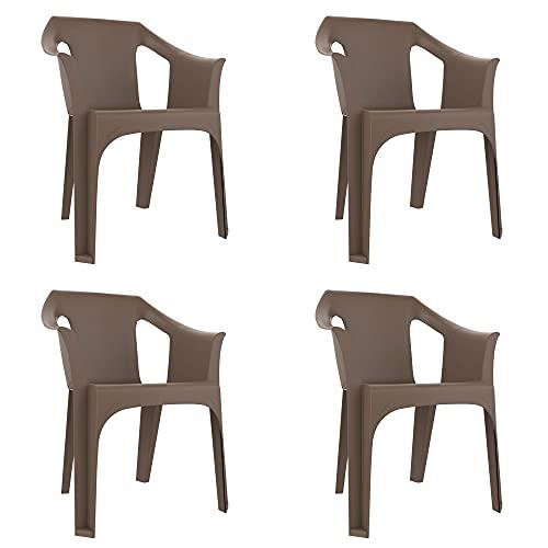 RESOL Cool Set 4 Sillas de Jardín con Reposabrazos Apilable | Terraza, Patio, Exterior, Comedor, Reuniones | Diseño Moderno Ligera y Resistente Filtro UV - Color Marrón Chocolate