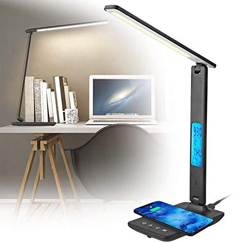 WDSZXH Multifunción Lámpara Escritorio, Lámpara Led de Mesa Modo de Carga Dual con Soporte para Teléfono Móvil, 3 Niveles de Brillos Lámpara Escritorio