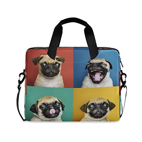 Laptop Bag Dog Shoulder Messenger Laptop Case Sleeve Cute Pug Puppy Computer Bag 13/14/15.6 Inch for Men Women