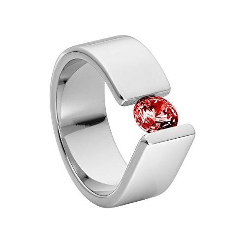Heideman Ring Damen Maxime aus Edelstahl silber farbend poliert Damenring für Frauen mit Stein Zirkonia rot im Brillant Schliff 6mm