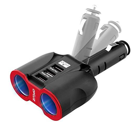 Cargador de Coche Inteligente QC3.0, 2 enchufes+3 USB (Puerto USB*2xSmart y Puerto USB*1xQC3.0) Adaptador Divisor de Enchufe multifunción para automóvil Fusible Integrado de 10A para tabletas/GPS/MP3