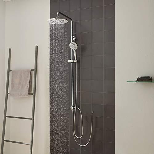 CECIPA Duschset Regendusche ohne Armatur Duschsystem mit Höhenverstellbar Duschstange, 22cm Durchmesser Rund Duschkopf, 3 Strahlarten Handbrause