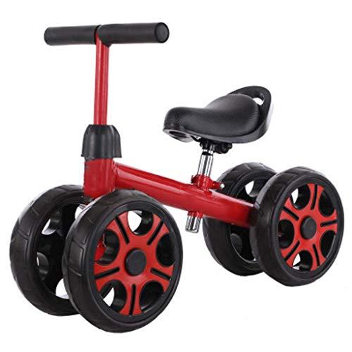 GCXLFJ Triciclo Bebe Triciclo PresentTrike bebé Bicicleta de Equilibrio,Scooterbikebaby Walkerhigh de Acero al Carbono de Equilibrio Bikechildren Infantil Marco Ajustable for Seatsuitable de 1-3,Rojo