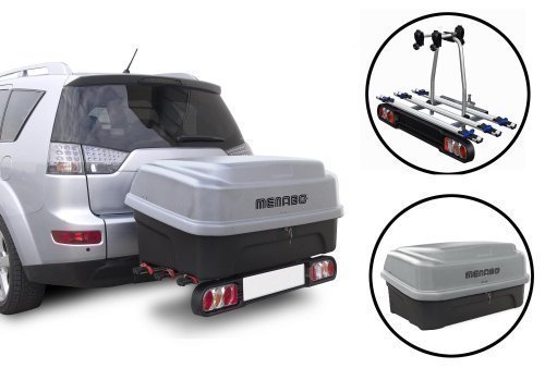 MENABO Heckträger Race III für 3 Räder klappbar + Boxxy Transportbox 330 L