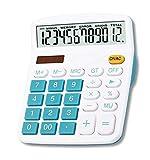 Mengshen Calculadora Grande, 12 dígitos Pantalla LCD Batería Solar Energía Dual Calculadora financiera dedicada Grande Calculadora Comercial de Escritorio de función estándar