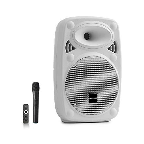 "auna Streetstar - Equipo PA portátil, Altavoz DJ, Bluetooth, Puerto USB, SD, MP3, AUX, Batería 3 Ah, Pantalla LED, Micrófono UHF, Mando a Distancia, Subwoofer 8"" (20 cm), Potencia 200 W, Blanco"