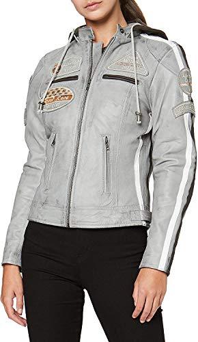 Damen Motorradjacke mit Protektoren, Grau, Große : 5XL