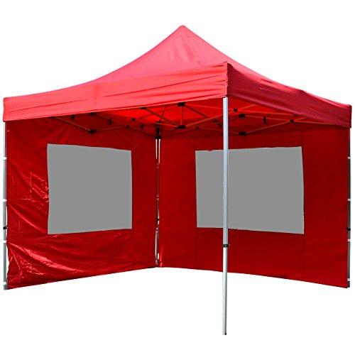 Nexos Falt Pavillon 3x3m rot 2 Seitenteile PROFI Ausführung wasserdichtes Dach