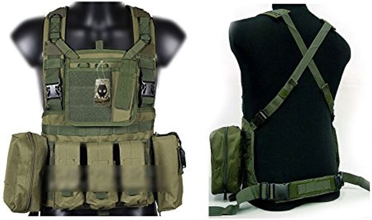 ATAIRSOFT Tactical Airsoft Paintball MOLLE RRV Assault VEST with magazine pouches OD Green