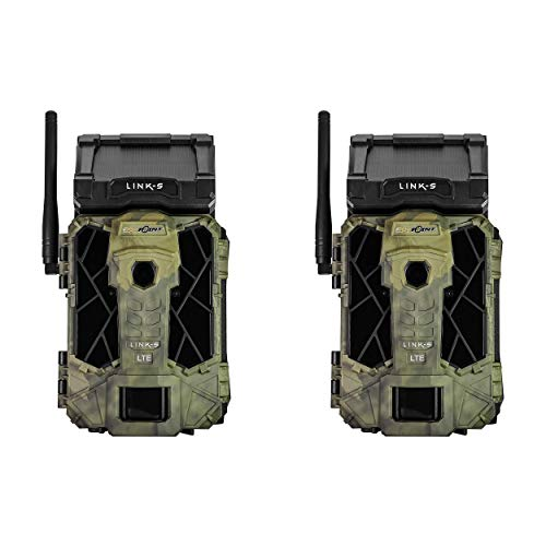 SPYPOINT Link-S-V 12MP Solar Powered 4G LTE Verizon Cellular HD Video Hunting Game Trail Camera with 0.07s Trigger, 100-Foot Detection Flash & Link App Capability (2 Pack)
