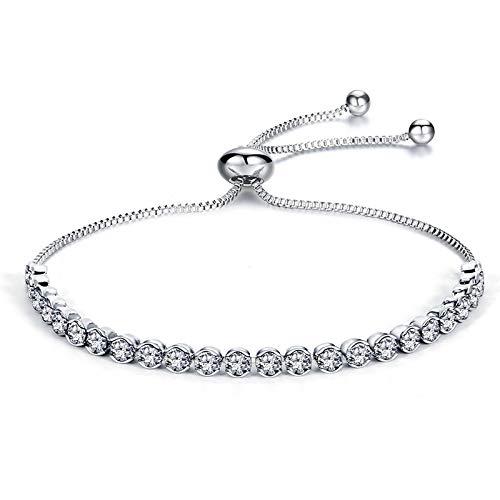 Jewellery Bracelets Bangle For Womens Luxury Adjustable Tennis Bracelet Crystal Zirconia Charm Bangle Bracelet For Women Accessories Fashion Jewelry Gifts Silverplated