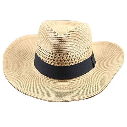 Big Brim Summer Outdoor Sports Sombrero Fresco Sombrero de Paja para Hombre Circunferencia de la Cabeza Grande Transpirable Sombrero para el Sol Plegable,Marrón,L