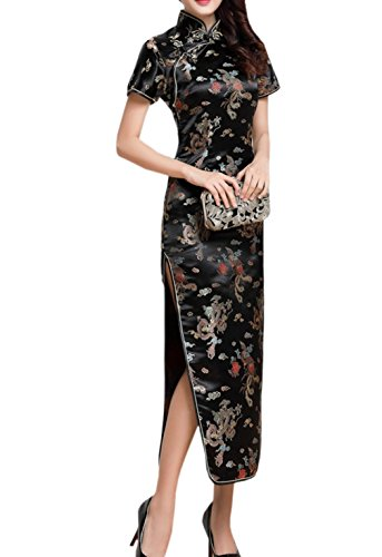 XueXian(TM) Mujer de Elegente Largo Qipao de Estilo Oriental de China-dragón(China XL/EU 40,negro)