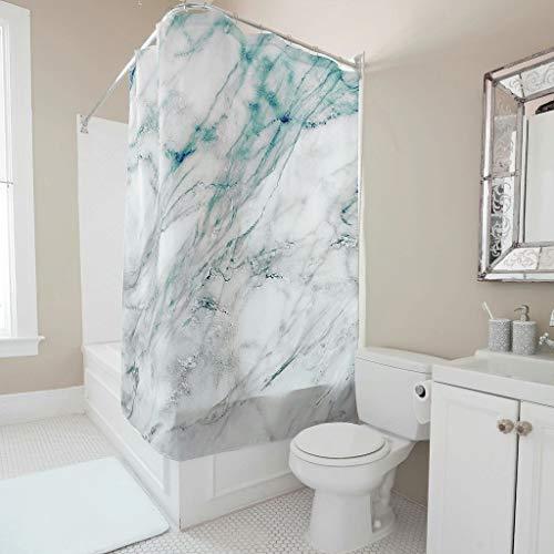 Twelve constellations Cortina de ducha, diseño de mármol, impermeable, incluye ganchos, 91 x 180 cm, color blanco
