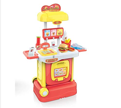 MTT Play Food Toys, Pretend Play Kitchen Set, Hamburger French Fries Variety Toys Gift for Kid ,Toddlers Pretend Food Playset Children Toy Food Set - 2 in 1 Adorable Travel Suitcase
