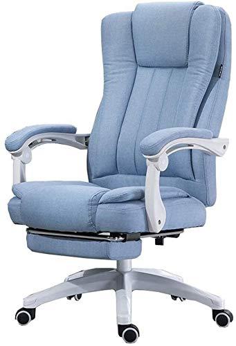 LQ Chaise pivotante Chaise avec accoudoirs et repose-pieds haut Fauteuil de travail réglable Angle Recliner Linen Tissu Convient for Bureau chaise de bureau (Color : Light Blue)