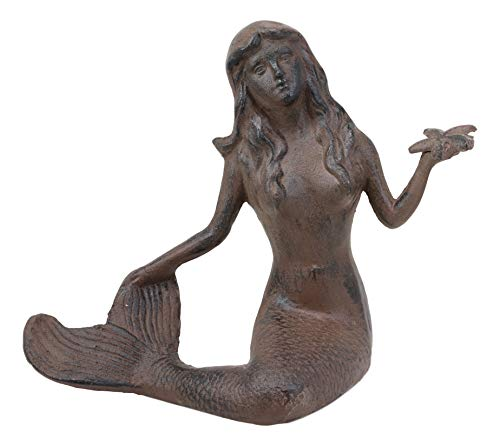 Ebros Gift 11.5' Tall Cast Iron Large Nautical Siren Mermaid Holding Starfish Vintage Statue Ocean Goddess Princess Coastal Beach Under The Sea Mermaids Decorative Accent (Rust Bronze)