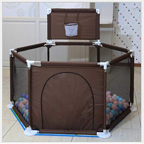 Babyspeelplein omheining, ademend zeshoekige all-star hek, (opvouwbaar en draagbaar), Children's peuter hek, (met bal rek en vloer mat), geschikt for binnen en buiten, 0-7 jaar oude baby
