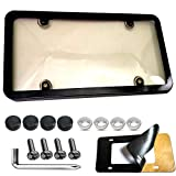 Aootf License Plates Cover and Frame Combo, Car Smoke License Plate Frame Holder Shield for All Standard US License Plates, Screws Included
