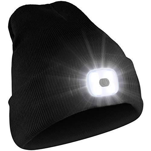 Deilin LED Mütze mit Licht, Beleuchtete Mütze Aufladbar USB für Männer und Frauen, Einstellbare Helligkeit Stirnlampe Winter Beanie Mütze mit Licht, Unisex Winter Wärmer Strickmütze mit Licht - 8