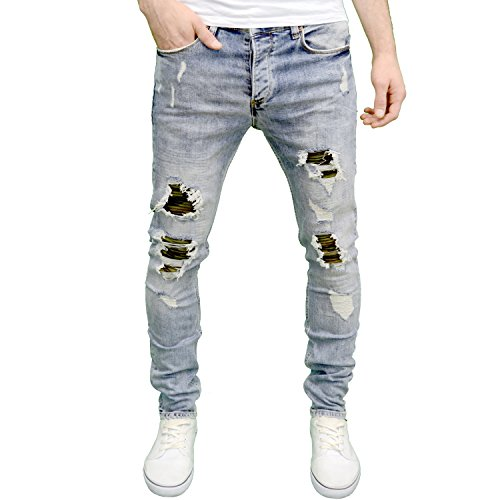 Eto Mens Designer Branded Lightwash Slim Fit Ripped Camo Patch Jeans (30W x 32L, Lightstonewash)