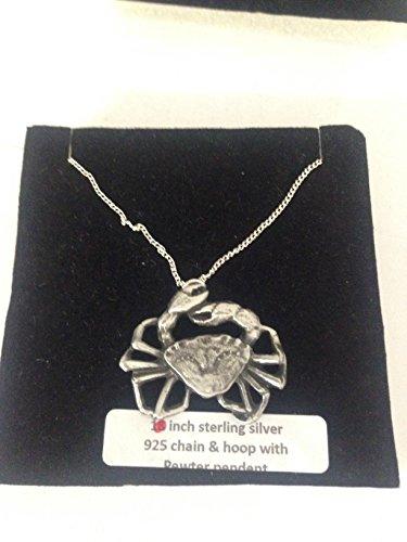 Crab R30 - Emblema de peltre inglés en un collar de plata de ley 925 de 45,7 cm