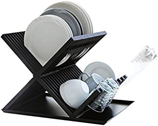 X Frame Drying Dish Rack with Tray in Black
