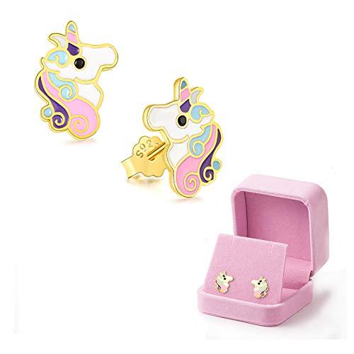 Pendientes de unicornio para niñas, Chapado en oro amarillo Arete Esmalte Colorido para las niñas Niños Joyería Fiesta de cumpleaños Regalos de Navidad con caja de regalo de terciopelo