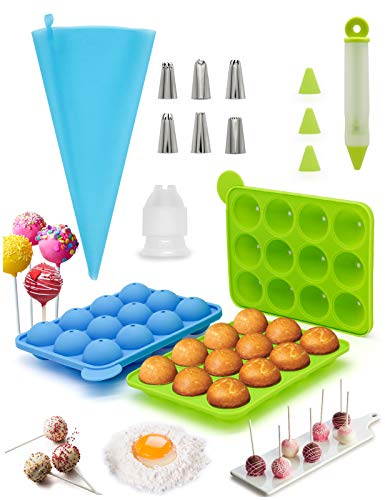 cake pop mold set Cake Pop Silicone Molds For Baking Cakepopsical Pan Moldes Lollipop Make Set With Recipe Decorating Pen With 4 Piping Tips