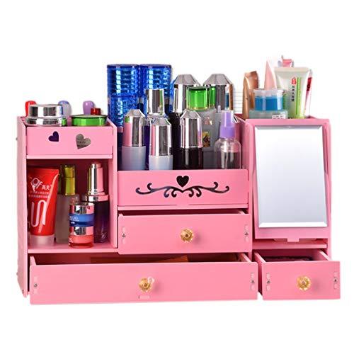 Boîte de rangement cosmétique Boîte De Rangement De Bijoux De Tiroir De Mode De Bureau Boîte De Rangement Multicouche pour La Table De Lavage (Color : Pink)