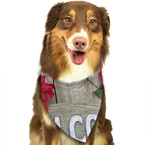 Sitear hout welkom teken opknoping op houten deur met bloem rand van rode rozen hond kat Bandana driehoek slabbetjes sjaal huisdier hoofddoek set voor kleine tot grote hond katten aangepast