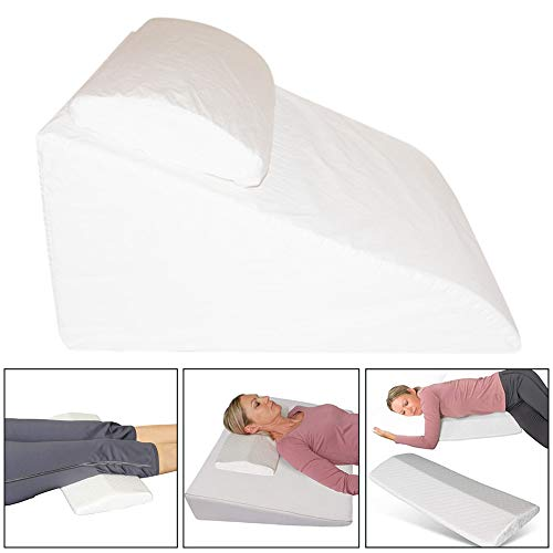 Bed Wedge with Washable Cover, Memory Foam Support Pillow, Acid Reflux, Prop Up, Heartburn And Indigestion Mattress Tilter