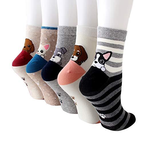 MAKFORT Lustige Socken Damen Mädchen Tier Muster Niedlich Baumwolle Sneaker Socken Kuschelsocken Damen Warme Socken Frauen Thermal Lässige Socken 5 Paar