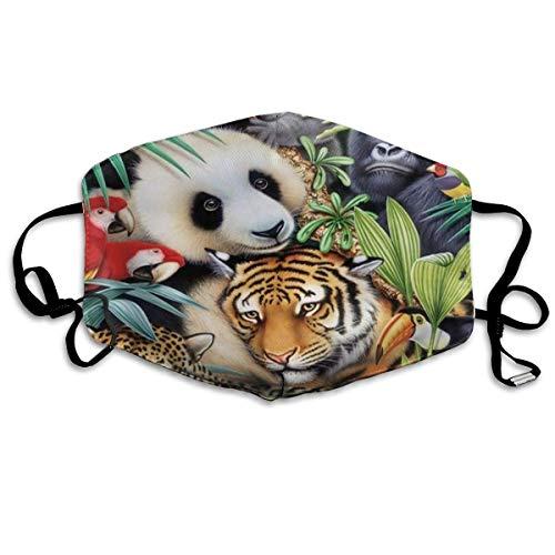 mundschutz Gesichtsbedeckung Mundbedeckung Mundschutz, Nordischer Wärmer Tropischer Tierzoo Pandas Tiger Papagei Löwe Atmungsaktive Gesichtsdekorationen Verstellbare Winddichte Abdeckung