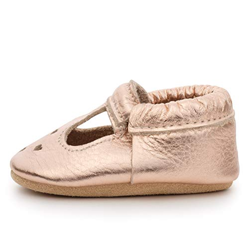 BirdRock Baby Mary Jane Moccasins - Genuine Leather Soft Sole Baby Girl Shoes for Newborns, Infants, Babies, and Toddlers (Rose Gold, US 5.5)