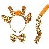 Giraffe Costume Set,Giraffe Ears Headband Giraffe Tail Nose Bow Tie Giraffe Fancy Dress Costume Kit Accessories for Halloween Cosplay Costume Dress Up Party Decorations for Kids Teens