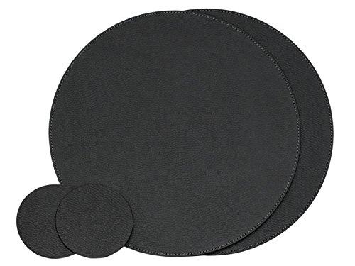 Nikalaz Lot de 2 Set de Table Rond et 2 Desous de Verres, Set de Table 33 cm de Diamètre et sous-bock 10 cm, Cuir Naturel Recyclé (Noir)
