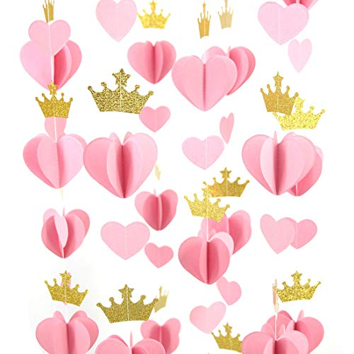 Mybbshower Gold Pink 3D Paper Heart Crown Garland Girl Princess Birthday Party Nursery Room Decor Balloon Tail Pack of 5