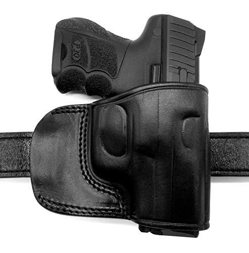 HOLSTERMART USA TAGUA Right Hand OWB Black Leather Yaqui Style Belt Slide Holster for Heckler & KOCH H&K USP 45, P30, P30SK, P2000, P2000SK, VP9, VP40, VP9SK