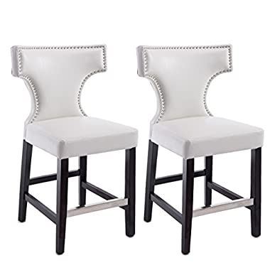 CorLiving DAD-818-B Kings Counter Height Bar Stool Chair with White Bonded Leather,Metal Studs, 24'' Seat Height, Set of 2