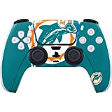 Skinit Decal Gaming Skin Compatible with PS5/PS5 Digital Edition DualSense Controller - Officially Licensed NFL Miami Dolphins Retro Logo Design