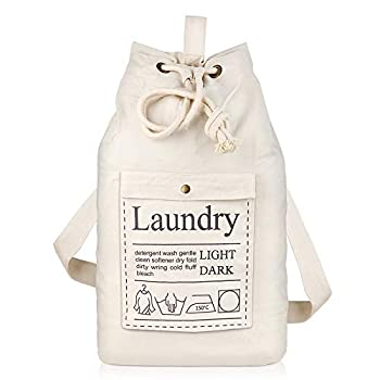 SweetMemo Premium Laundry Bag with Strap & Handle Canvas Machine Washable Dirty Cloth Duffle Bag Heavy Duty Laundry Bag Backpack with Drawstring Hanging Hamper Bag for College Dorm Travel  Beige