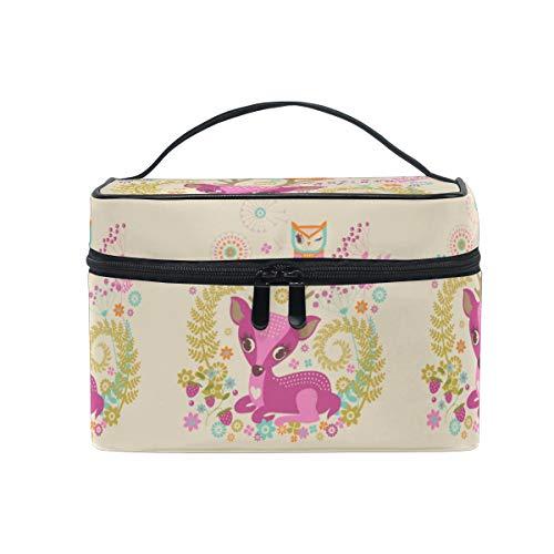 Cerf Chouette Oiseau Trousse Sac de Maquillage Toilette Cas Voyage Sac Organisateur Cosmétique Boîtes pour Les Femmes Filles