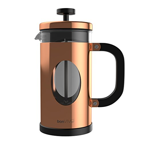 bonVIVO GAZETARO I Caffettiera French Press (Caffettiera Pressofiltro) Di Design In Acciaio Inox e Vetro. Caffettiera Francese (French Press) Con Rifinitura Rame e Filtri. Capacità: 1l/1000ml